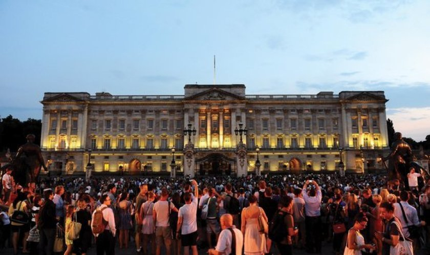 Buckingham Palace in London, where crowds grew after the announcement of Prince George's birth five years ago.